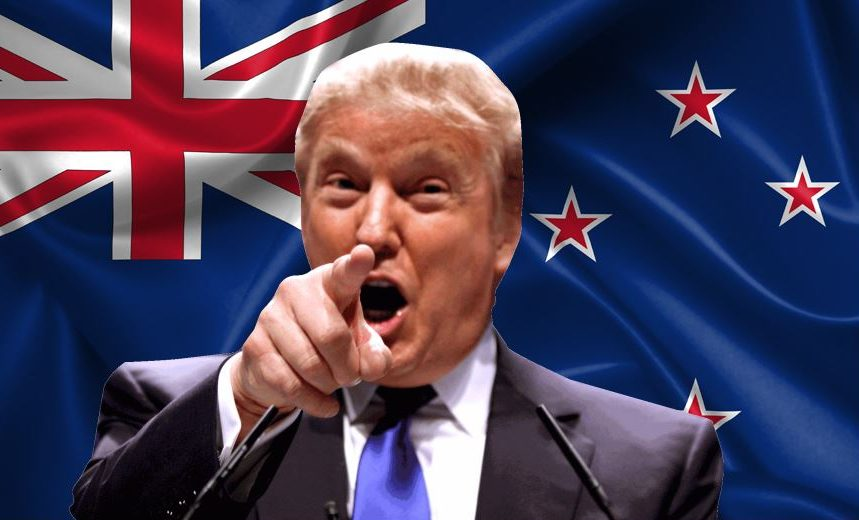 Donald Trump in front of a New Zealand flag