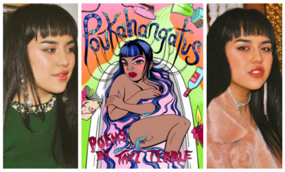 Two photographs of Tayi Tibble flanking her first book, Pōukangatus.