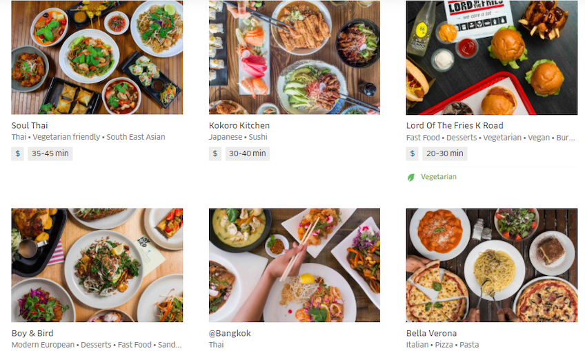 Auckland Uber Eats order page
