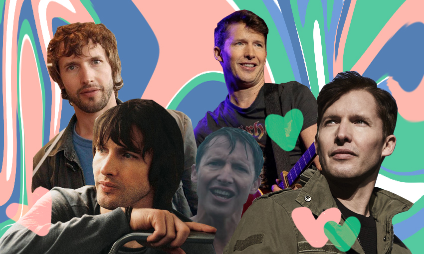 A collage of various images of James Blunt, taken across his career. The collage is set against a marbled background and dotted with love hearts.
