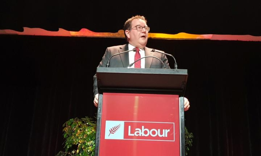 Grant Robertson at the Labour Party annual conference in Whanganui