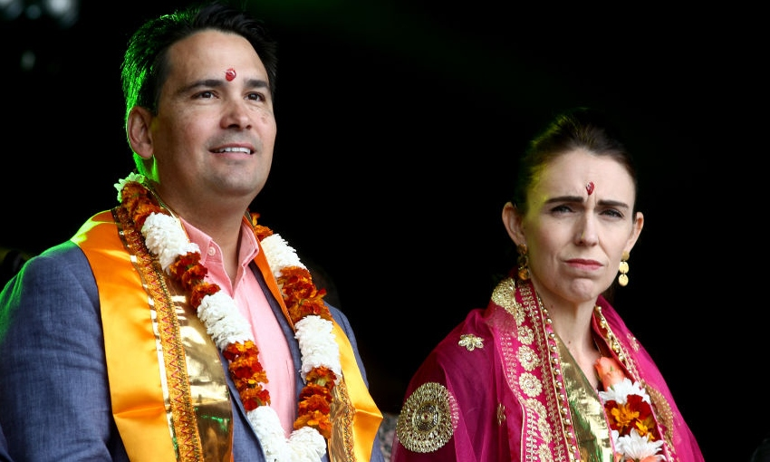 Jacinda Ardern and Simon Bridges at Diwali in Auckland