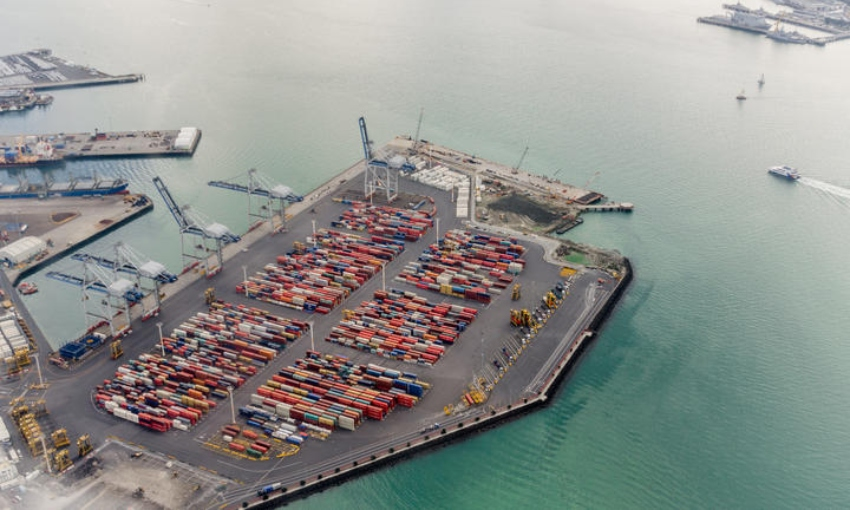 Auckland port from above