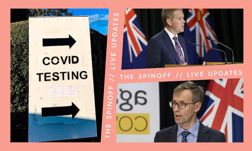 Collage of Ashley Bloomfield, Chris Hipkins and sign for a Covid testing station