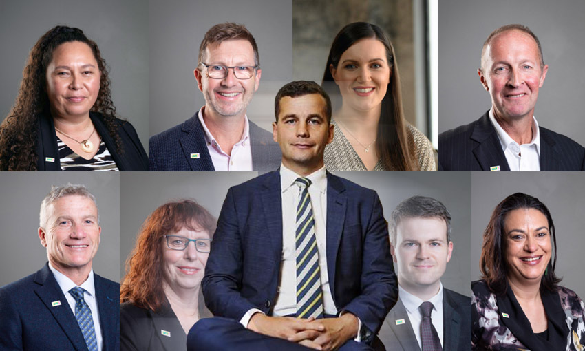 David Seymour surrounded by the top nine Act Party candidates