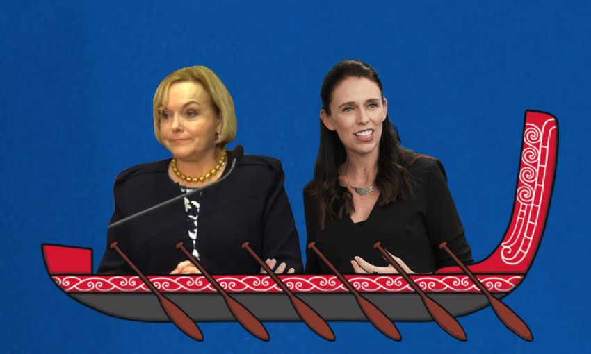 "Judith Collins and Jacinda Ardern in a cartoon waka with the caption ""He waka eke... nah. """