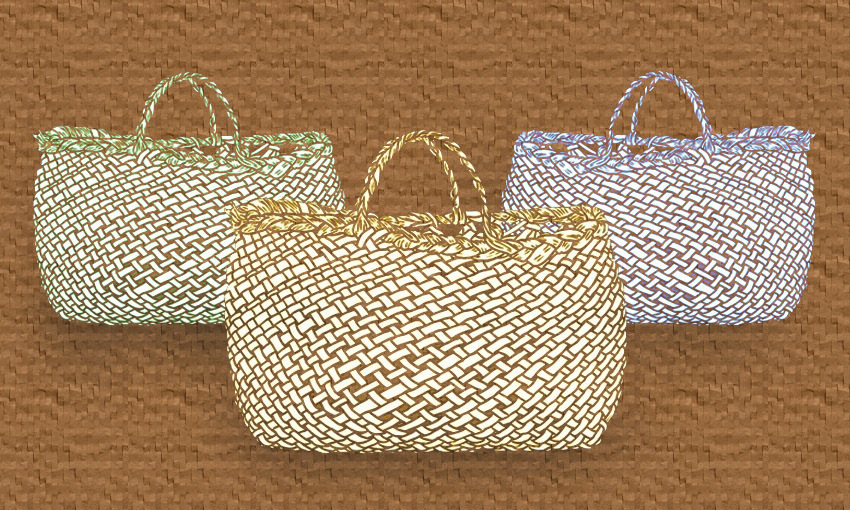 Three kete, or woven flax bags, on a brown background, representing the three kete of knowledge in Māori lore.