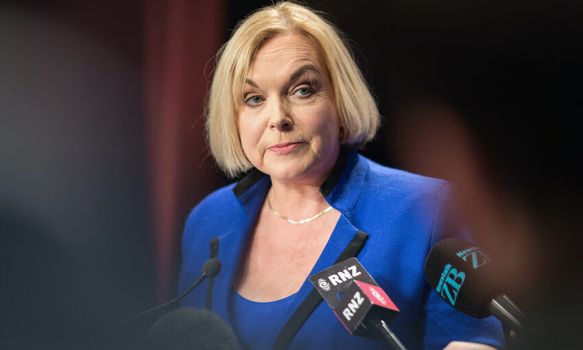 National Party leader Judith Collins speaks to the media following The Press Leaders Debate in Christchurch