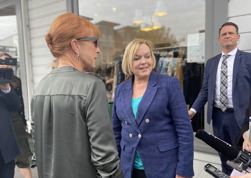 Judith Collins on the campaign trail in Ponsonby