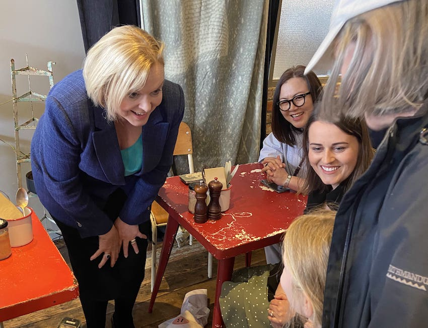Judith Collins on the campaign trail