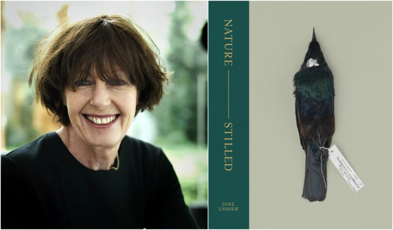 Portrait shot of photographer Jane Ussher and the cover of her book Nature –Stilled