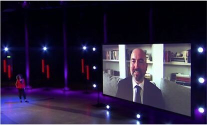 Doug Stuart on big screen during Booker Prize 2020 ceremony