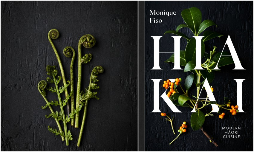 A photograph of pikopiko fronds arranged on a black background. The cover of Hiakai.
