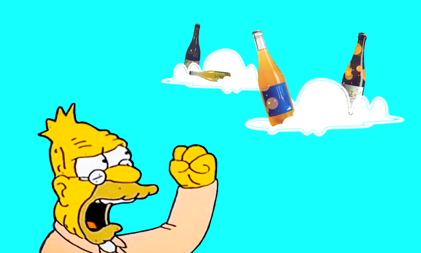 Grandpa Simpson shakes fist at natural wine