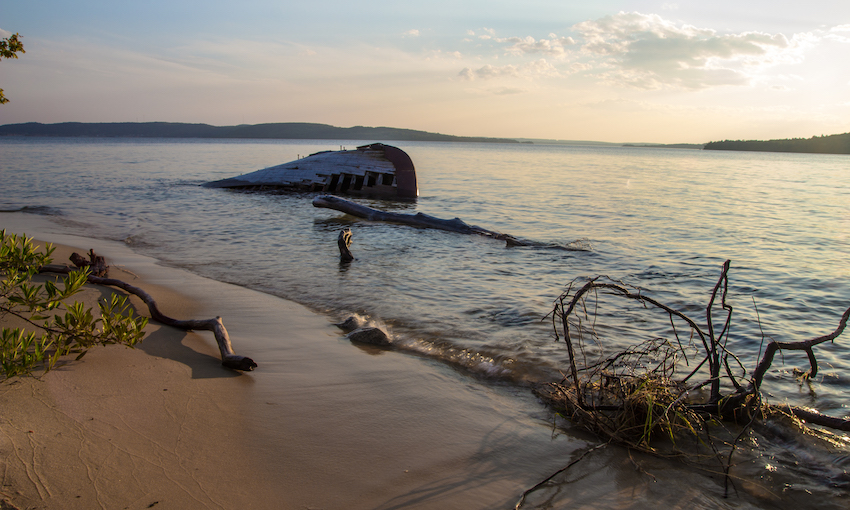shipwreck on the shore of an island