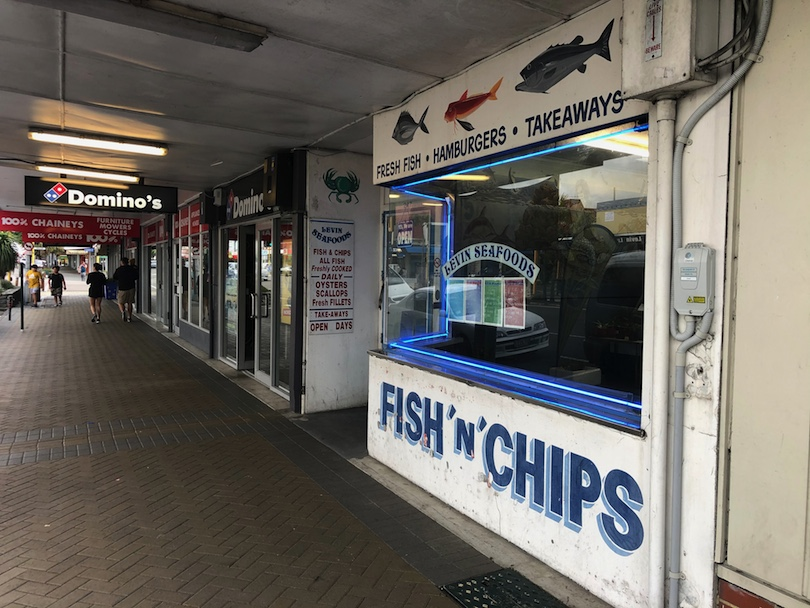 Footpath and fish and chips store