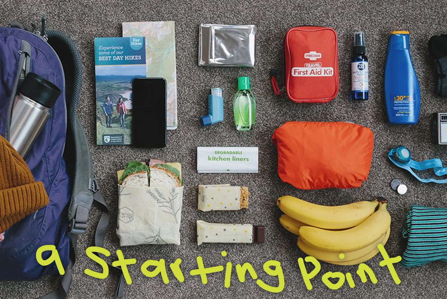 Items typically packed for a hiking trip