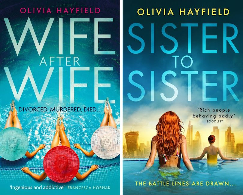 Two book covers: Wife After Wife, and Sister to Sister, by Olivia Hayfield