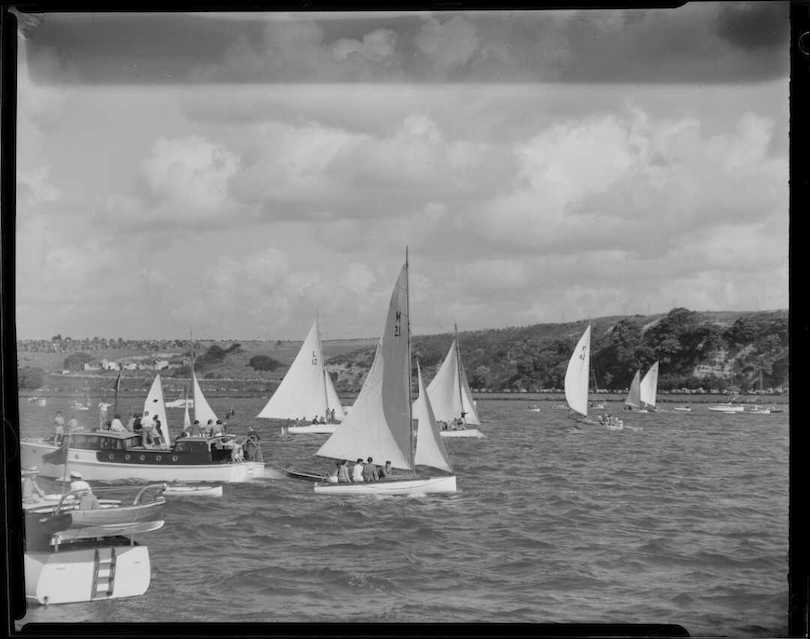 sail boats on the harbour for Auckland anniversary day, 1950