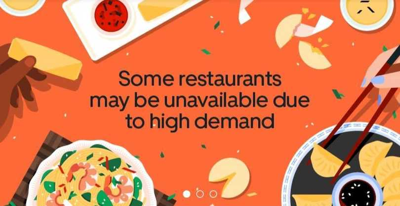 uber eats screengrab saying some restaurants are unavailable due to high demand