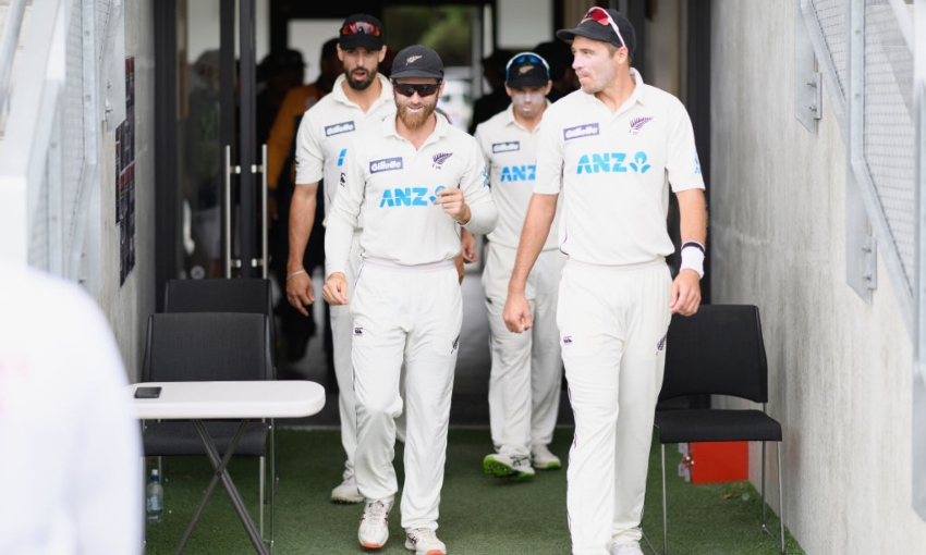 The Black Caps walking out to play Pakistan
