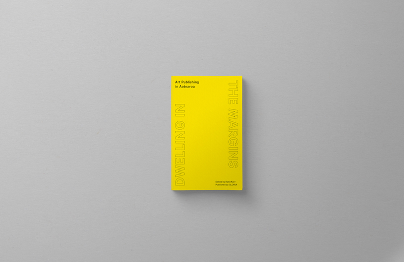 Bright yellow book called Art Publishing in Aotearoa