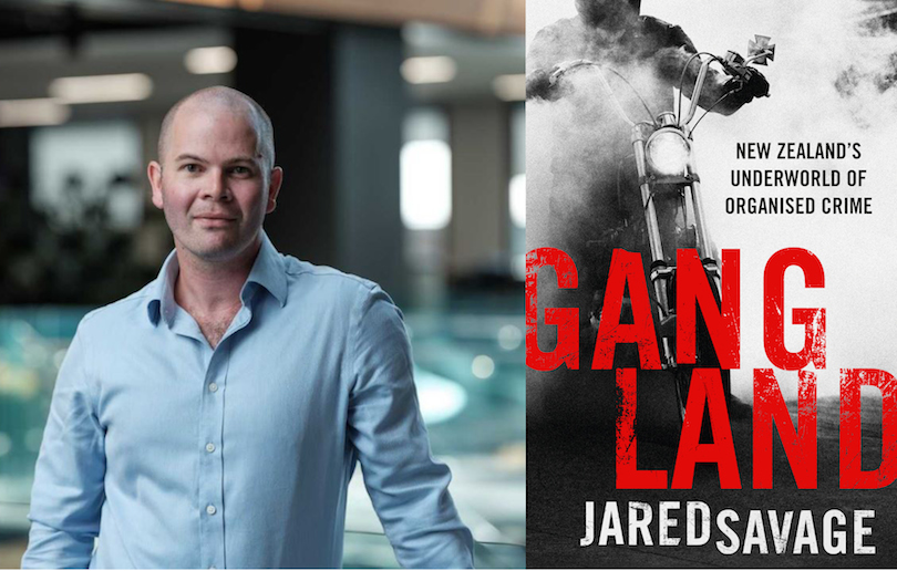 Journalist Jared Savage and the cover of his book Gangland