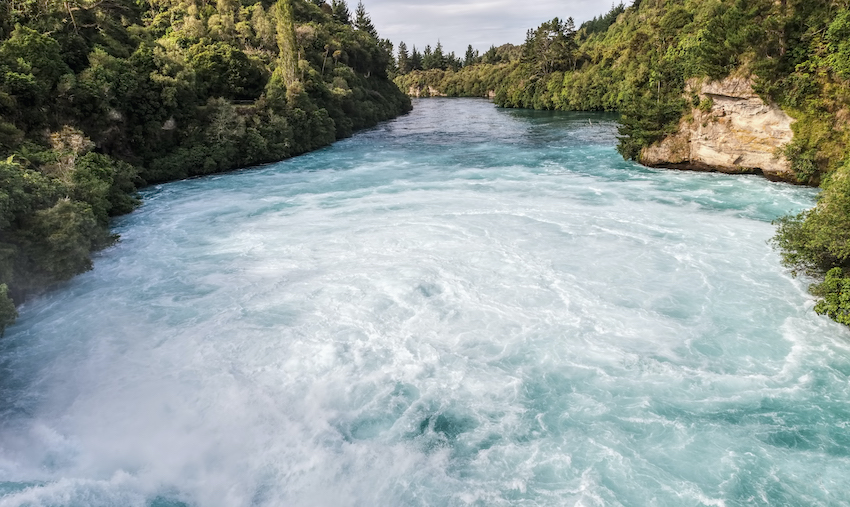 The mighty Waikato River near Huka Falls.