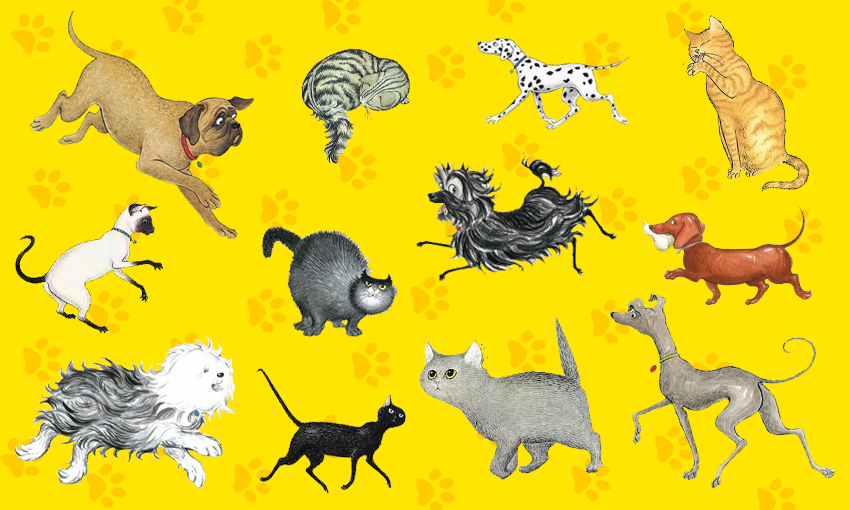 Twelve cats and dogs from the Hairy Maclary books, arranged on a bright yellow pawprint background