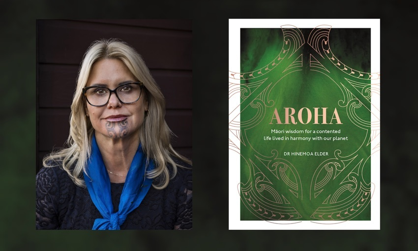 Head and shoulders portrait of Dr Hinemoa Elder alongside the cover of her book, Aroha