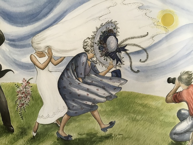 Illustration: at a wedding, on a windy day, a woman clutches her hat