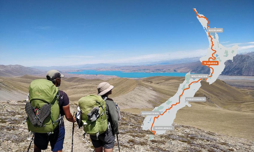 Tozan Delman and his wife on the Te Araroa trail, looking out over a mountain range. A map of the trail appears in the top right corner of the image.