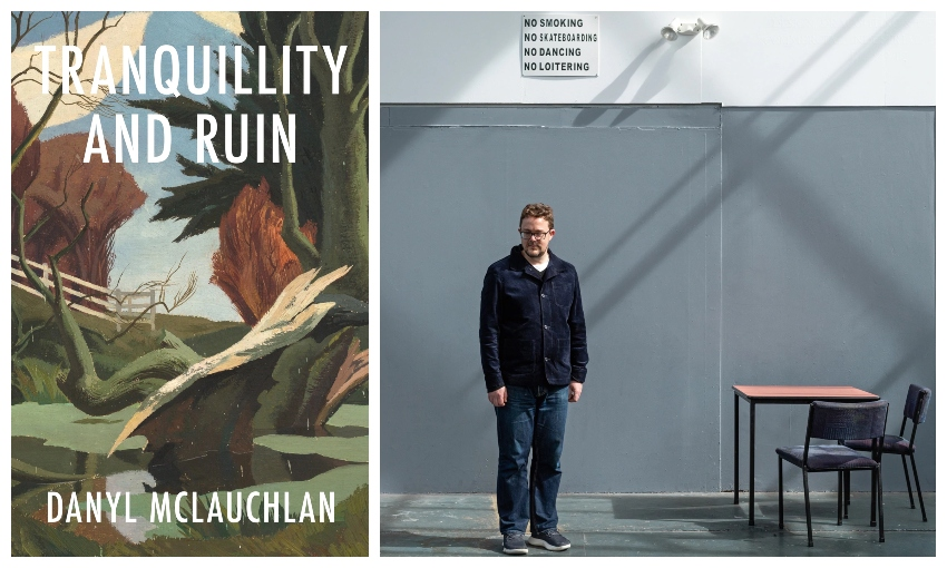 The cover of the book Tranquillity and Ruin and a portrait of author Danyl McLauchlan, gazing out of frame in an industrial-looking room