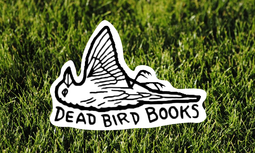 "Illustration of a dead bird with the words ""Dead Bird Books"" underneath, all on a backdrop of lawn"