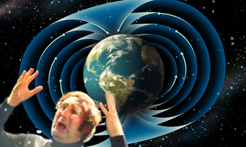 man with mind blown and the earth's magnetic poles