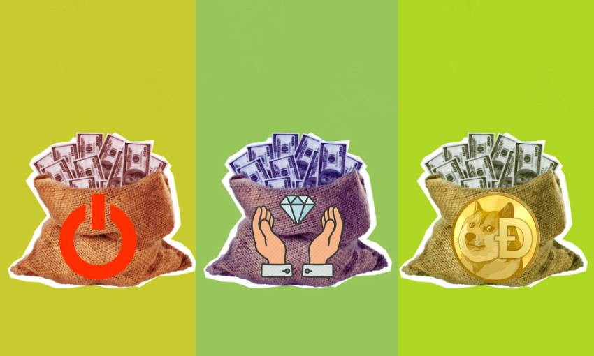 three bags of cash, each with a different emblem on them: gamestop, diamond hands, and dogecoin