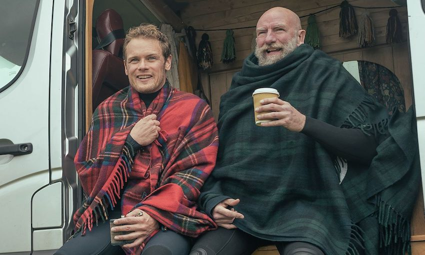 Sam Heughan and Graham McTavish head up Men in Kilts, which you can now watch on Neon. (Photo: Supplied)