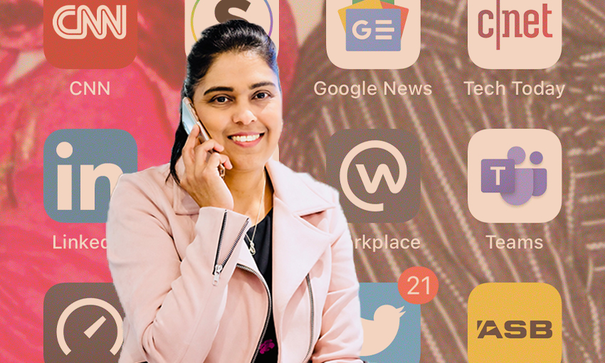 Sharina Nisha, Vodafone's Head of Platforms sits talking into her cellphone. The background is an image of the apps on her home screen.