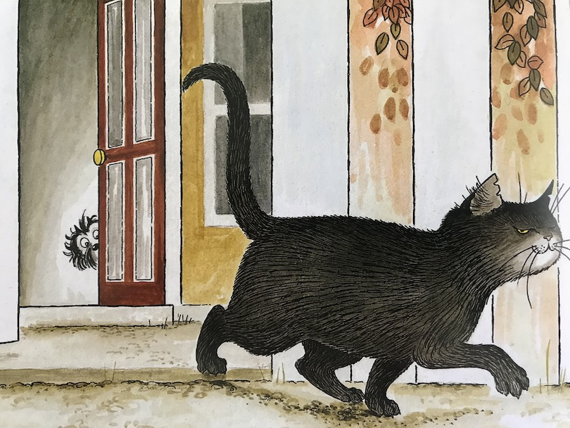 Illustration: big black cat strolls smugly away from a cowering terrier