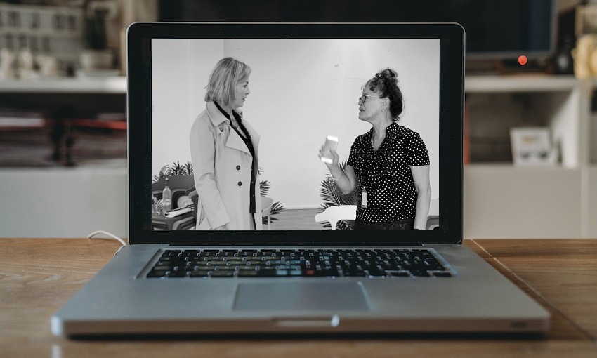 Jennifer Ward-Lealand and Rena Owen in rehearsal for Two Ladies on a computer screen