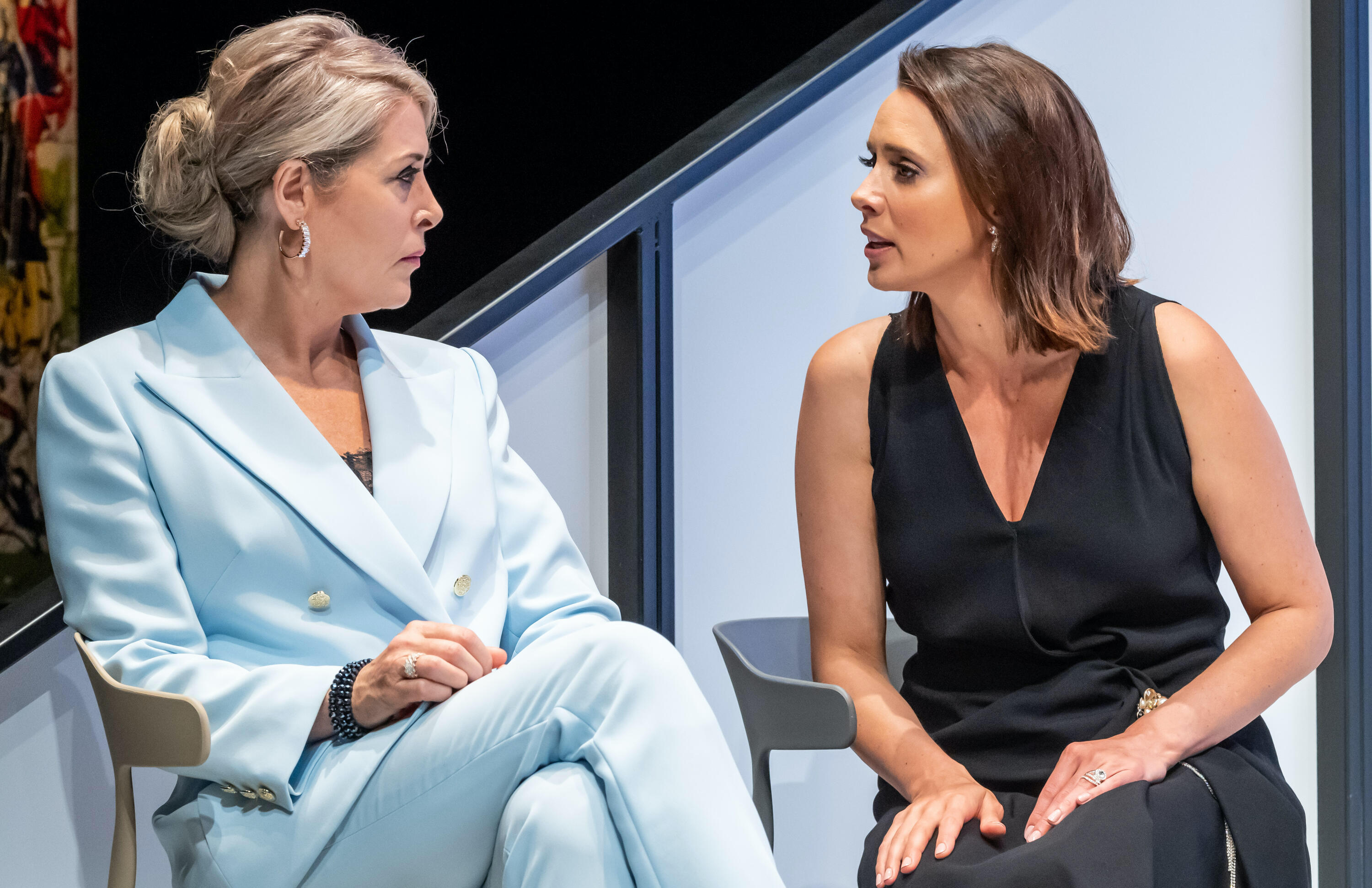 Jennifer Ward-Lealand and Anna Julienne in Auckland Theatre Company's Two Ladies.