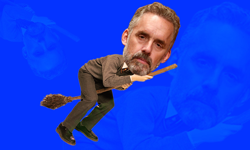 Jordan Peterson's face superimposed on Harry Potter riding a broomstick, on a blue background