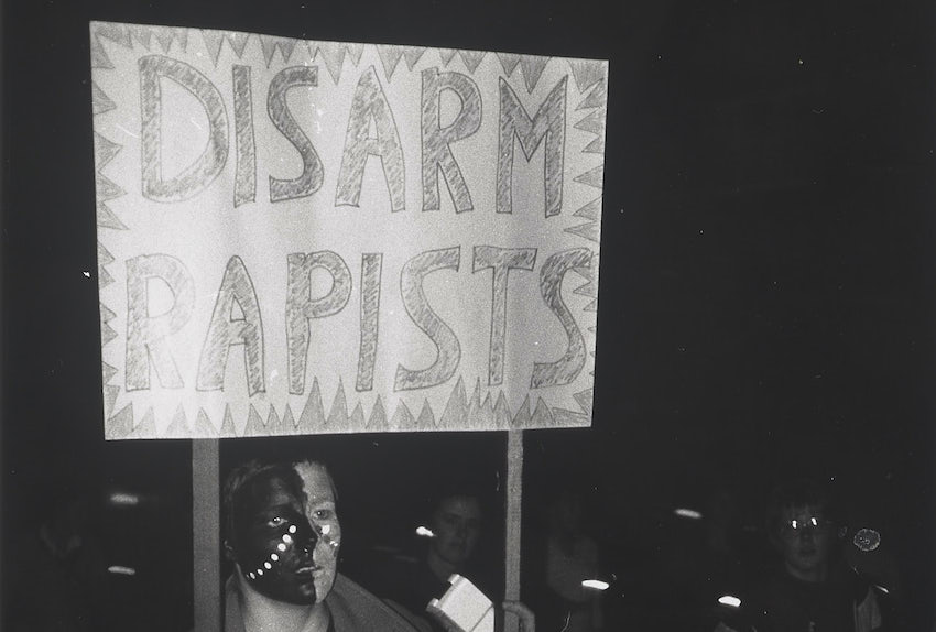 A woman at the Reclaim the Night march in 1983.