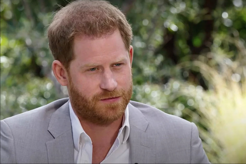 Prince Harry during his explosive interview with Oprah Winfrey.