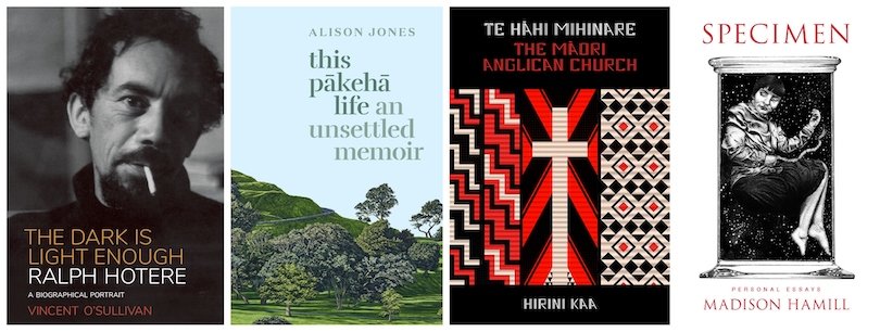 Four book covers: Only the dark is light enough, This Pākehā Life, Te Hāhi Mihinare The Māori Anglican Church, Specimen.
