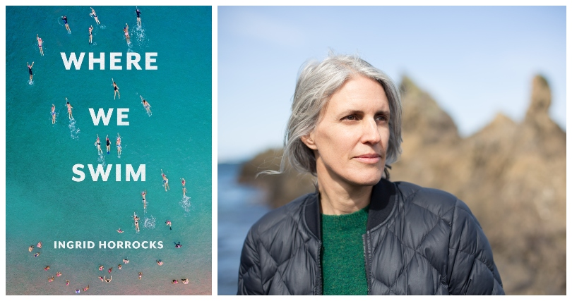 The cover of essay collection Where We Swim, featuring aerial photograph of people entering sea, and a portrait of author Ingrid Horrocks