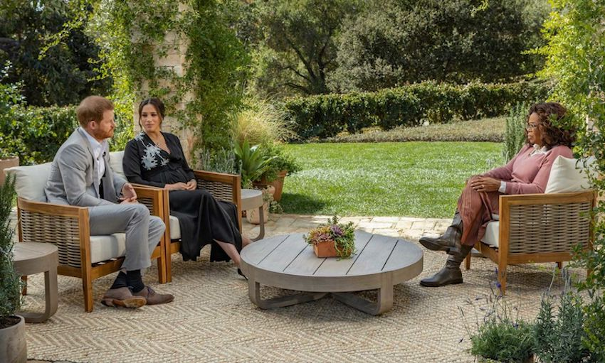 Meghan Markle and Prince Harry in their explosive interview with Oprah Winfrey.