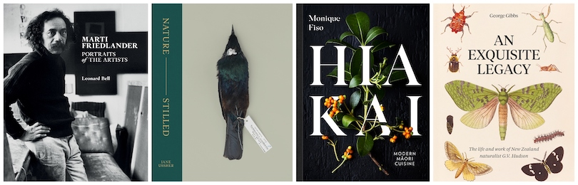 Four book covers: Marti Friedlander, Nature –Stilled, Hiakai and An Exquisite Legacy