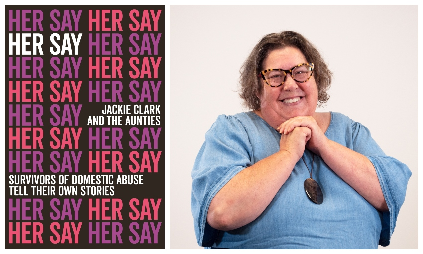 A book cover with the words 'Her Say' stamped all over it, and a portrait of Jackie Clark, beaming