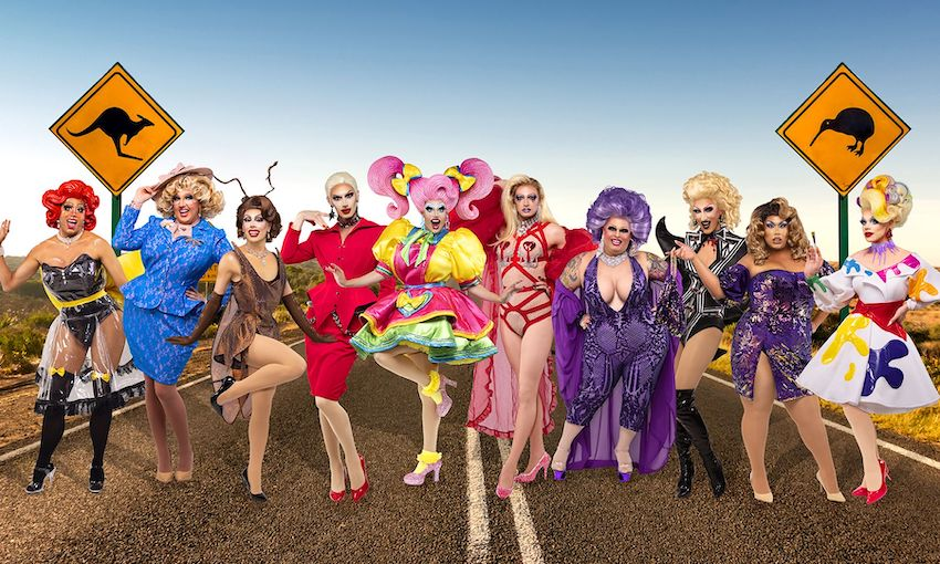 Round up your sheilas and put a shrimp on the barby, it's the contestants on Drag Race Down Under. (Photo: TVNZ)